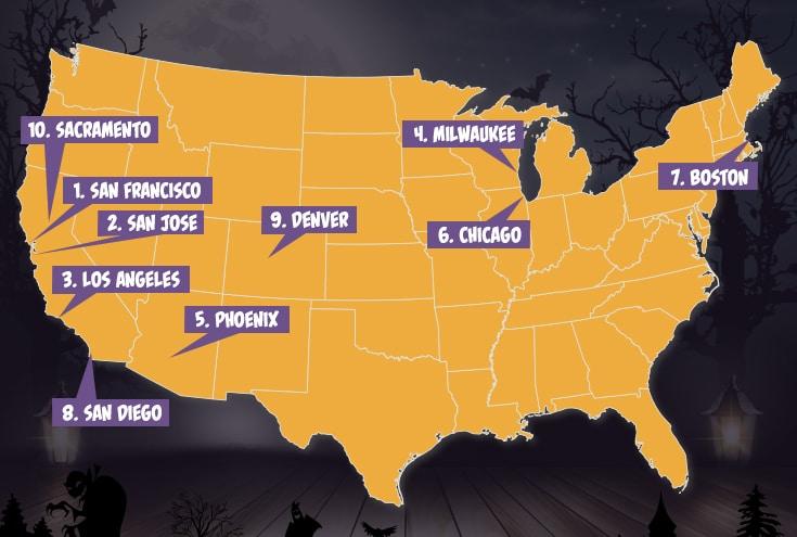 les meilleurs villes pour fêter halloween aux USA