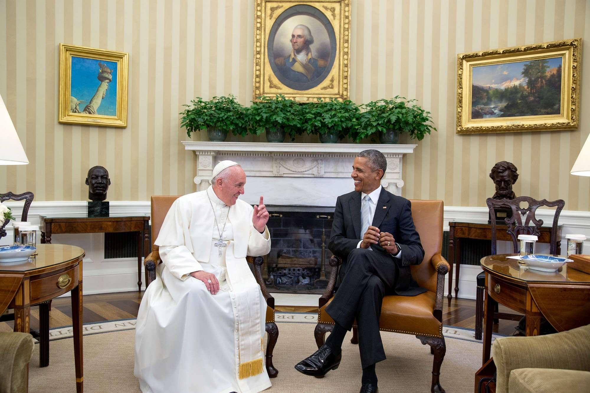 Barack Obama et le Pape à la Maison Blanche